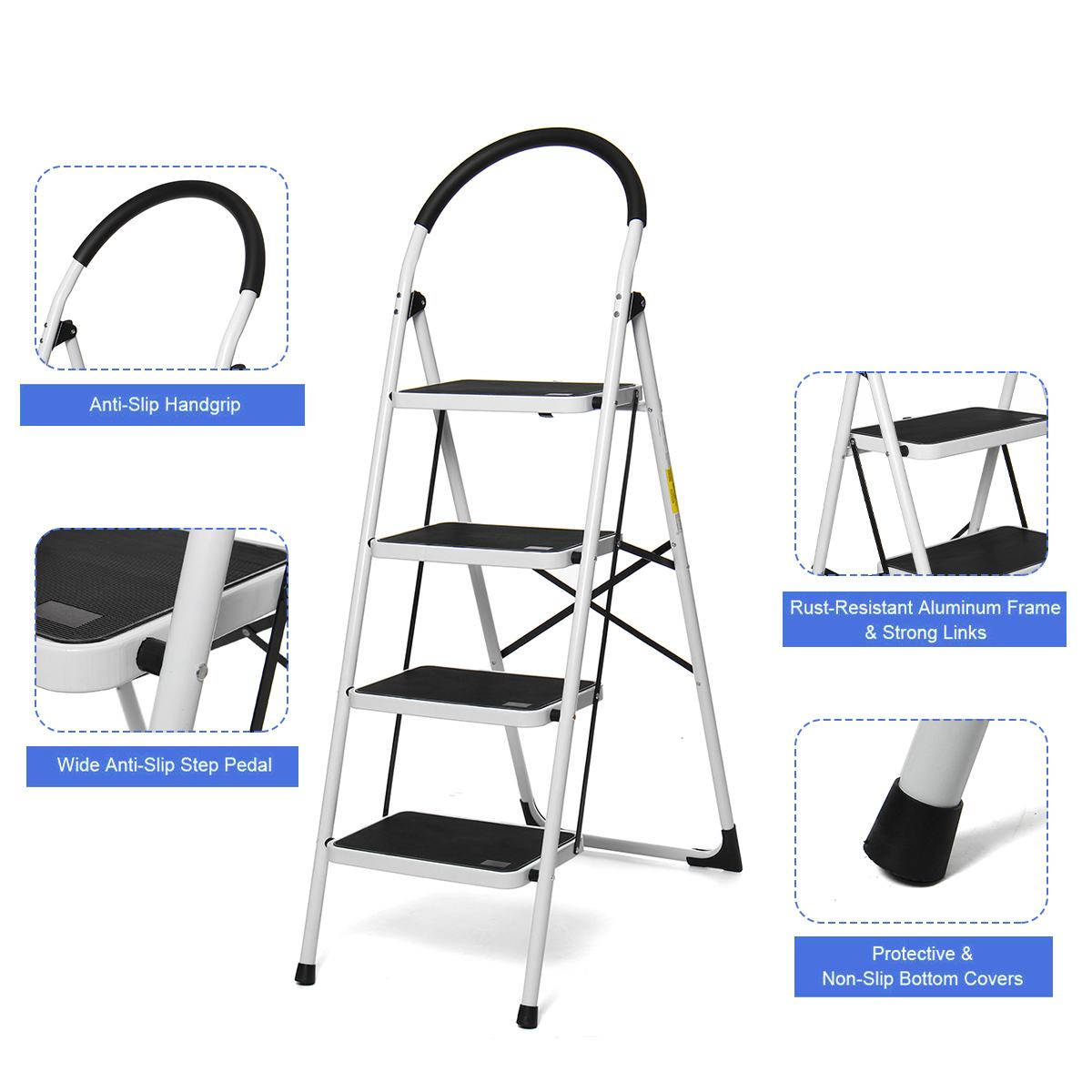 4 Step Ladder Folding Aluminium Ladders Multi-Purpose Extension Ladder Non-slip Handrail Work Platform 330lb Capacity Tools