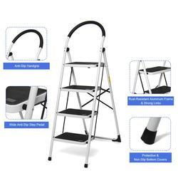 4 Step Ladder Folding Aluminium Ladders Multi-Purpose Extension Ladder Non-slip Handrail Work Platform 330lb Capacity Tools