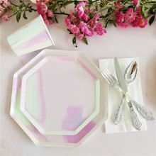 Tableware-Sets Party-Supplies Rainbow-Dish Birthday-Party-Decor Cups/straws Rose-Gold
