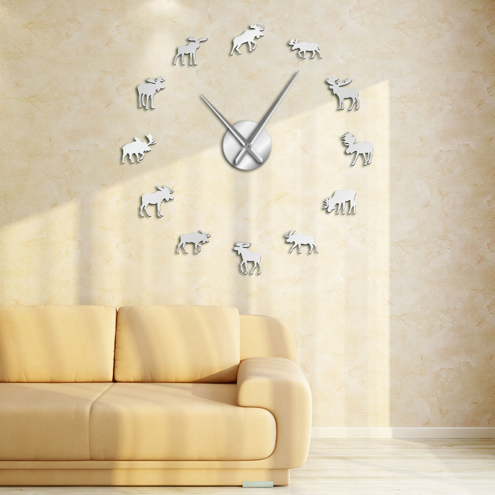 Wildlife Moose DIY Giant Wall Clock Moose Silhouette Decorative Frameless Wall Watch Modern Nature Animal Wall Art Hunting Clock