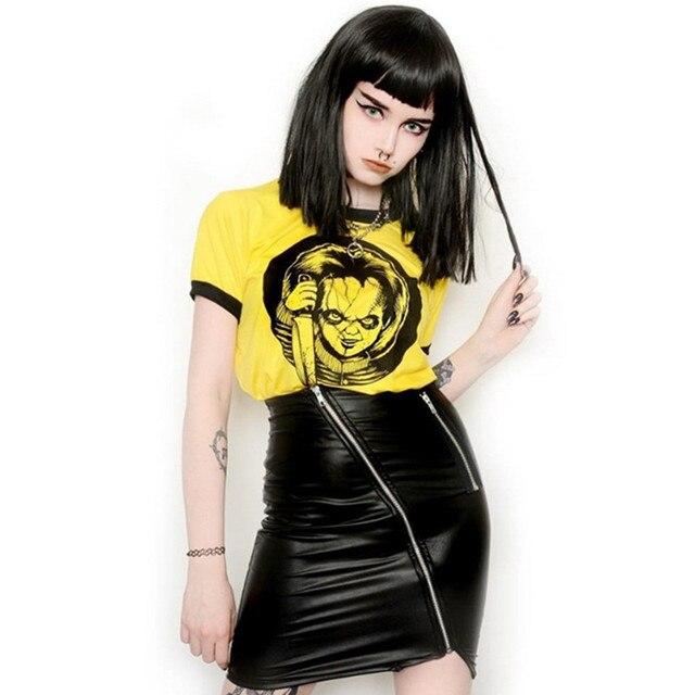2020 été femmes jaune rose couleur Sexy haut court T-shirt Rock Punk horreur poupée gothique mariée de mandrky démon mort effrayant T-shirt