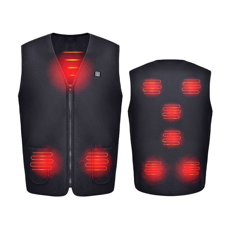 Men Motorcycle Vest 8 Heating-Zone Electric USB Infrared Heating Vest Jacket Flexible Electric Thermal Clothing Waistcoat Winter