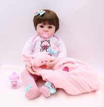 NPK 47CM lifelike reborn toddler doll baby girl soft silicone vinyl stuffed body Christmas surprice gifts lol