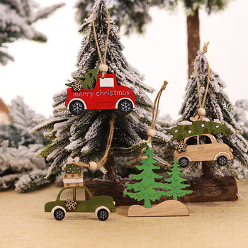 Christmas decorations, creative tree pendants, new wooden car toys, home wall hangers