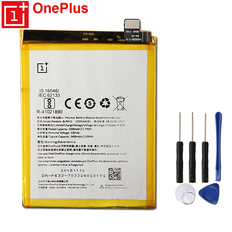 OnePlus Original Replacement Phone Battery BLP633 For 3T 1+3T Authentic Batteries 3400mAh