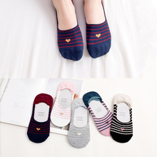 5 Pairs Women Socks Cotton No Show Ankle Socks Heart Striped
