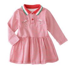 Bongawan Girls Dresses Plaid Cotton Lapel Children Clothing Embroidery Full Sleeve Princess Dress For Birthday 2-8 Years