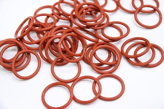 10 pièces VMQ joint torique joint épaisseur CS 5mm OD 18 ~ 45mm Silicone caoutchouc isolé rondelle étanche forme ronde Nontoxi rouge