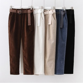 Corduroy Pants Harem Pants Autumn Winter Women Pants Elastic Waist Sashes Casual Black Trousers pantalones mujer cintura alta 1