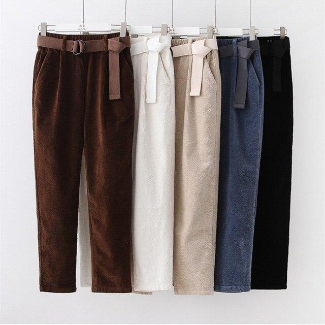 Corduroy Pants Harem Pants Autumn Winter Women Pants Elastic Waist Sashes Casual Black Trousers pantalones mujer cintura alta