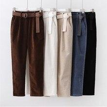 Pantalones harén de pana para mujer, pantalón informal, con cintura elástica y fajas, color negro, para otoño e invierno, cintura alta