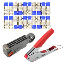 Multitool dénudage pince de serrage câble Coaxial pince de presse à froid RG59 RG6 câble TV ensemble d'outils de sertissage avec 20 têtes F