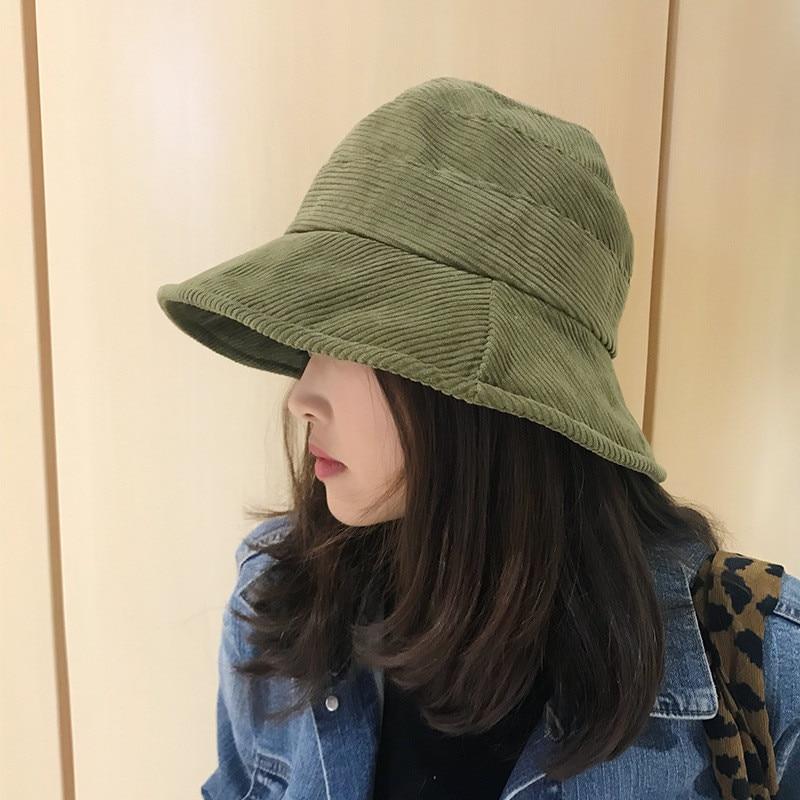 2019 Corduroy Tweed Bucket Hat Women Panama Winter Solid Japanese Streetwear Folding Sunscreen Big Wide Visor Vintage Flat Hat