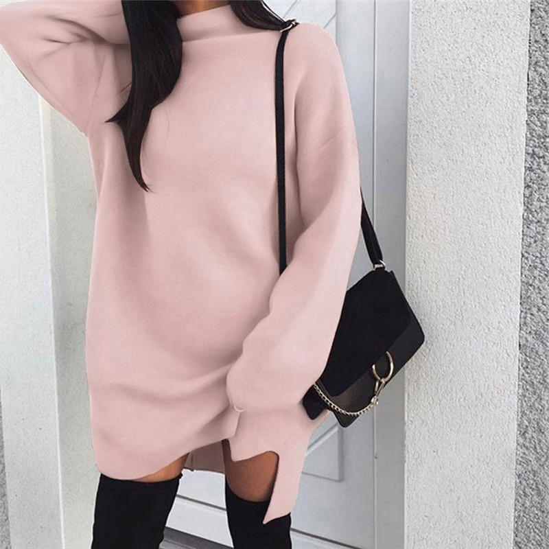 Autumn Winter Long Sweater Dress Women's Solid Turtleneck Knitted Casual Loose Warm Pullover Female Lady Elegant Dresses