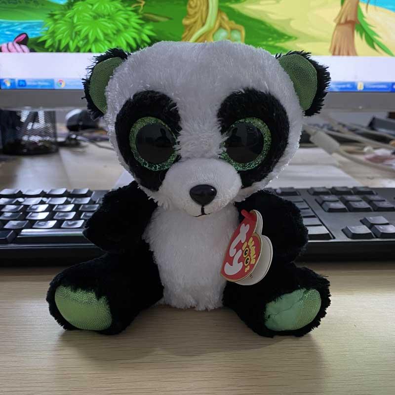 Ty-peluche de Panda Yumi de 15cm, muñeco de colección con relleno Animal de ojos grandes, suave y Regular Lote de 8 unidades de figuras de acción de Panda, Panda, Mini modelo de PVC para niños, juguetes de animales para niños, regalos de cumpleaños