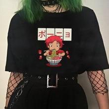Camisetas Ulzzang casuales de dibujos coreanos bonitos con diseño de gato y fideos, ropa punk harajuku vintage, dropshipping, Impresión de álbum, camiseta femenina