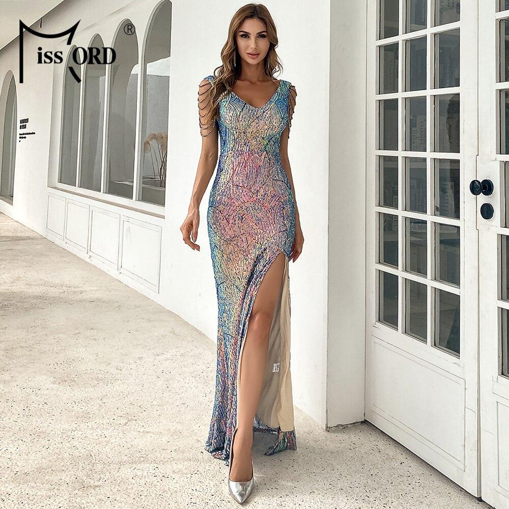 Missord 2021 сексуальное платье с глубоким v-образным вырезом и открытой спиной, платье с блестками, Платье макси с высоким разрезом, женское вече...
