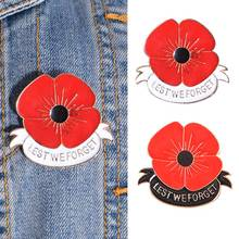 Poppy Red Flower Enamel Crystal Brooch Pin Women Elegant Brooches Badges XIN-Shipping(China)
