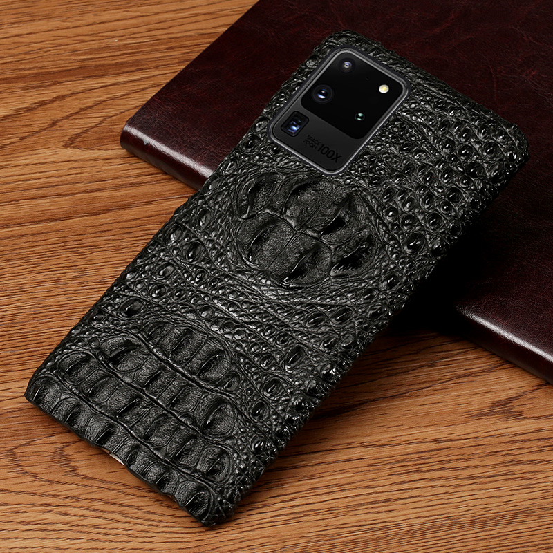Genuine Leather 3D Crocodile Head Phone Case For Samsung Galaxy S20 Plus S20 Ultra Note 10 S8 S9 S10 Plus A50 A51 A70 A71 Cover