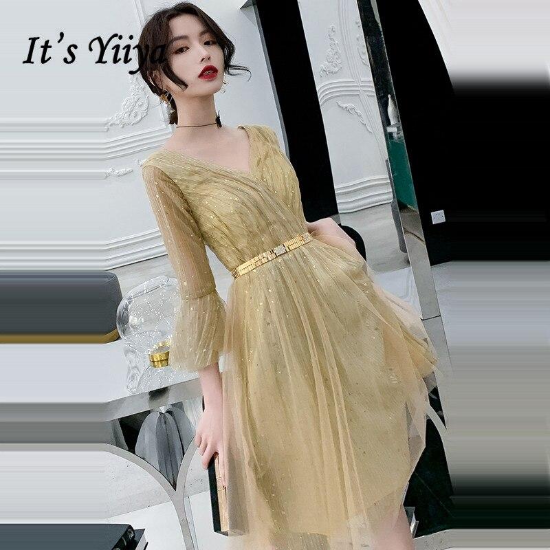 It's Yiiya Cocktail Dress Elegant Gold Shining Party Dresses V-neck Tea Length Formal Dresses 2020 Plus Size Robe Cocktail LF066