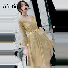 Женское коктейльное платье it's yiiya золотистое блестящее