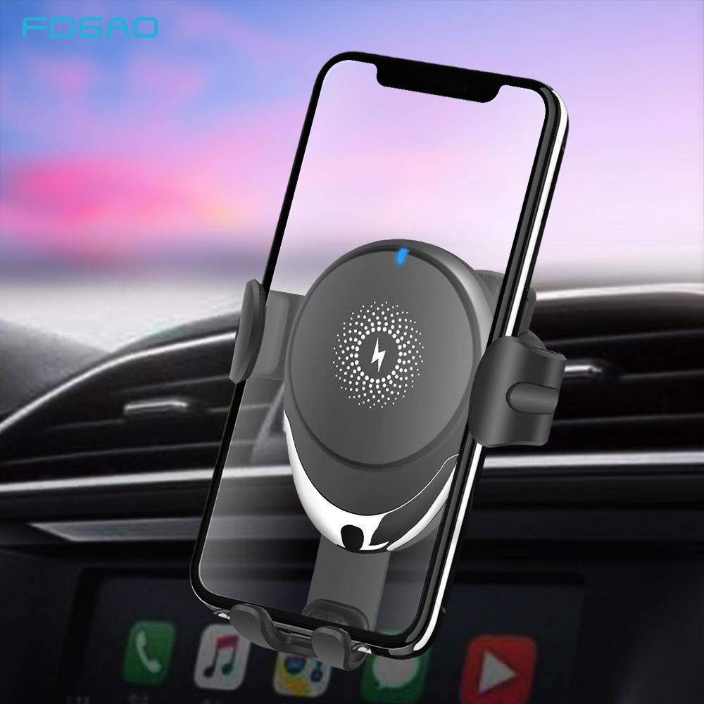 FDGAO Automatic Clamping QI Car Wireless Charger Mount 15W 10W Fast Charging Holder for iPhone 11 Pro XS XR X 8 Samsung S10 S9|Wireless Chargers| |  - title=