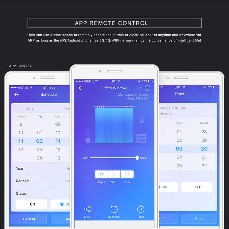 UK Uni Eropa Wifi Smart Tirai Touch Switch Ewelink Aplikasi untuk Listrik Bermotor Blind Roller Rana Pintu Bekerja dengan Alexa Google rumah