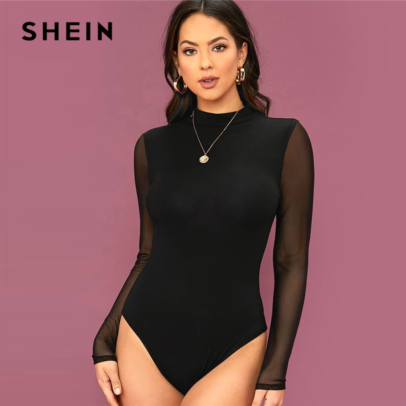 SHEIN Solid Stand Collar Contrast Mesh Sleeve Elegant Bodysuit Women 2020 Spring Long Sleeve Office Lady Sheer Skinny Bodysuits 1