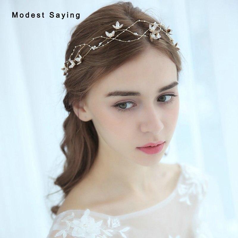 Fairy Beaded Flowers Wedding Headbands 2019 Bridal Headwear Wreath Wedding Accessories For Brides Headpiece Dekoracje Weselne