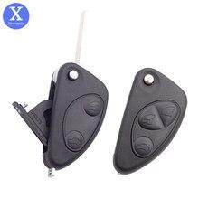 Xinyuexin novo estilo de substituição do carro remoto chave escudo para alfa romeo 147 156 166 gt 2 3 botões sem corte lâmina em branco caso chave escudo