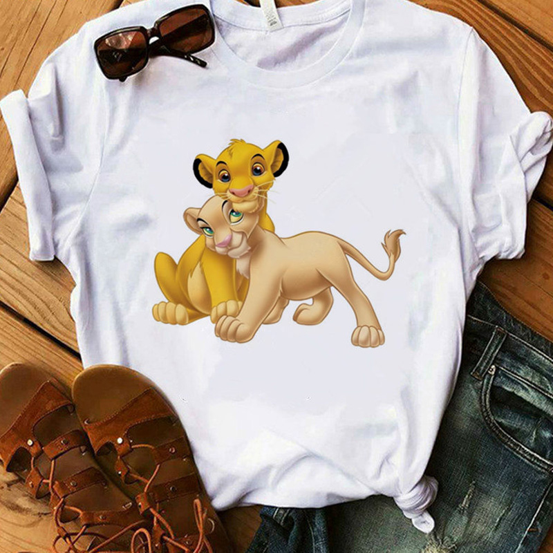 Casual Harajuku Graphic Tshirt Female Tee Tops Clothing Vogue Lion Printed T Shirt Women Summer Fashion T-shirt