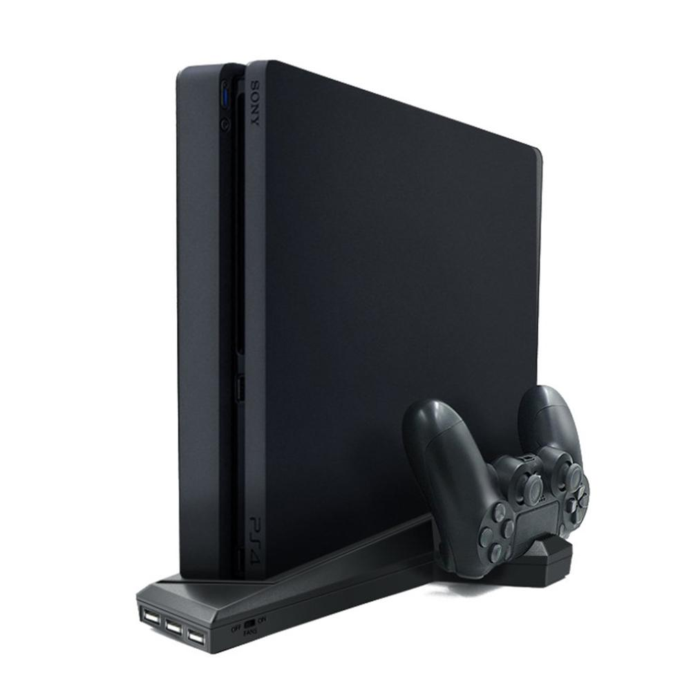 For PS4/PS4 Slim Vertical Stand With Cooling Fan Dual Controller Charger Charging Station For SONY Playstation
