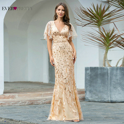 Женское вечернее платье, Золотое блестящее платье-Русалочка с треугольным вырезом, EP00692GD