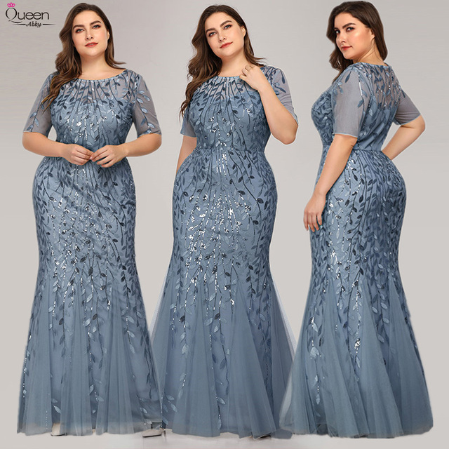 Elegant Lace Evening Dresses Queen Abby Long Sequined Mermaid Sexy Formal Wedding Guest Gowns Party Plus Size Abendkleider 5