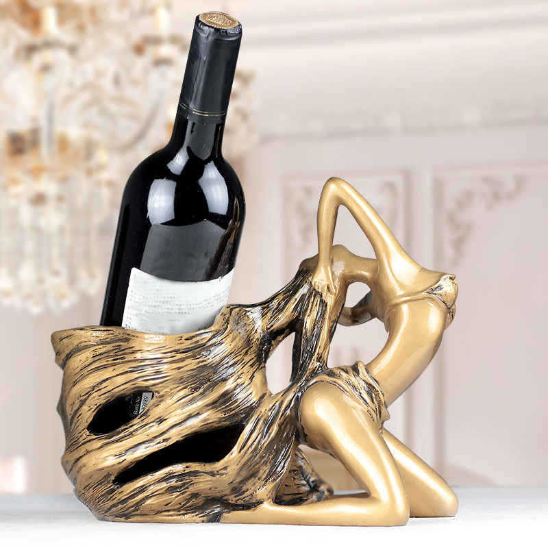 27cm Big Wine Holder Sexy Girl Long Hair Bottle Holder Rack Vintage Tone Coloured Polished Barware Kitchen Tools Resin Crafts