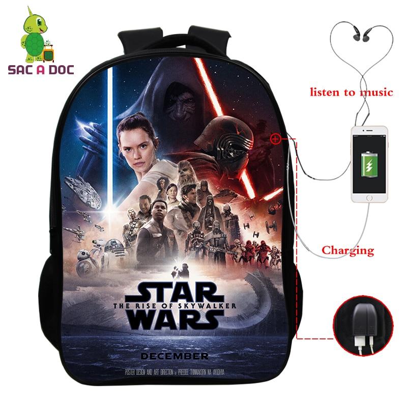 Star Wars Famous Rapper School Bag Multifunction USB Charging Laptop Backpack For Teenage Boys Girls Travel Shoulder Bags