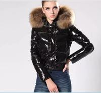 Punk Women Winter Red Down Cotton Jacket New Fashion Glossy Black Big Hooded Thick Shiny Loose Big Fur Warm Parkas Lady Coat