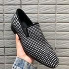 Новое поступление вечерние мужские туфли дышащие повседневные мужские лоферы ручной работы с белыми кристаллами удобные мужские свадебн... - 5