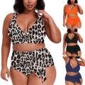 4XL Разделение размера плюс с леопардовым принтом, бикини, купальник для женщин, сексуальный купальник, пуш-ап, бикини, ванный комплект пляжна...