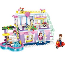 цены Girls Friends Eliza Sunshine Resort Villa Building Blocks Girl Toys B723