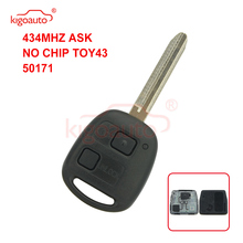 цена на Kigoauto 434mhz ASK no chip car Remote key fob 2 button TOY43 blade for Toyota RAV4 Corolla
