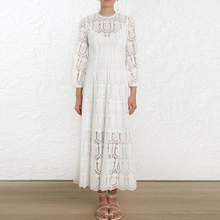 Banulin Autumn and Winter New White Women Lace Dress Lantern Long Sleeves Round Neck Chic Runway