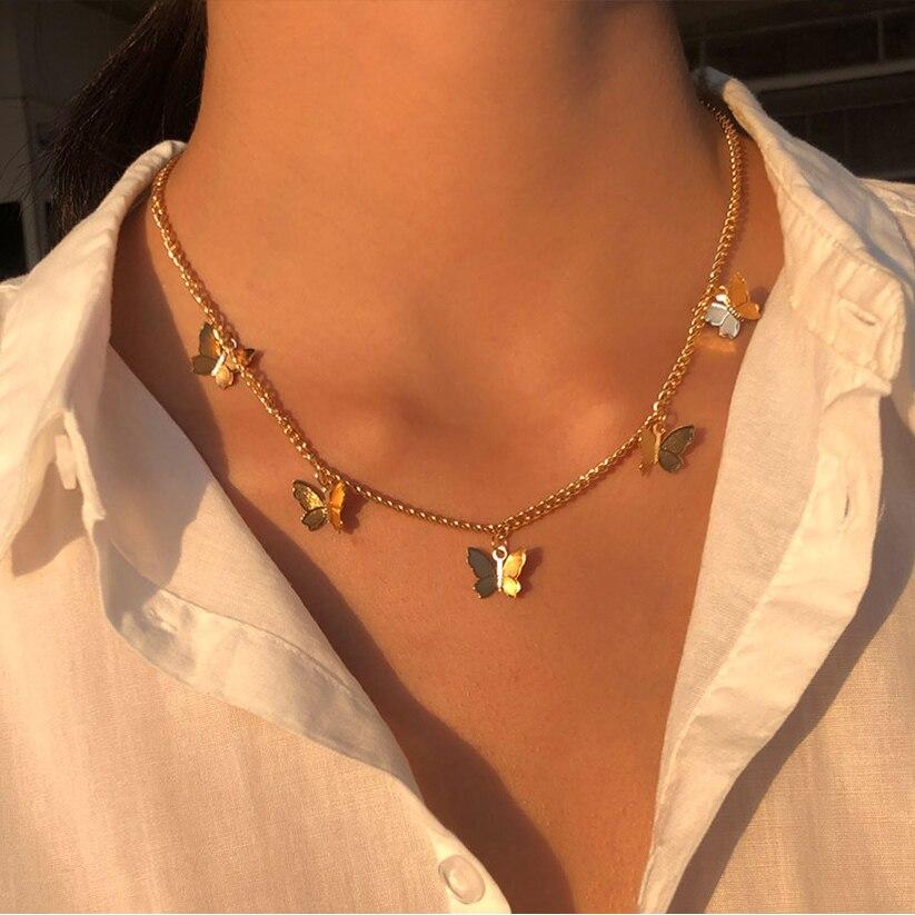 Винтажное многослойное ожерелье с бабочкой, ожерелье для женщин, бабочки, Шарм с Луной и звездой, колье, колье, ювелирные изделия в стиле бох...