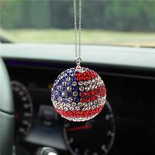 Bling Bling Gradient Color Car Crystal Ball Fashion Metal Chain Rhinestone Ball Car Interior Rearview Mirror Hanging Ornaments