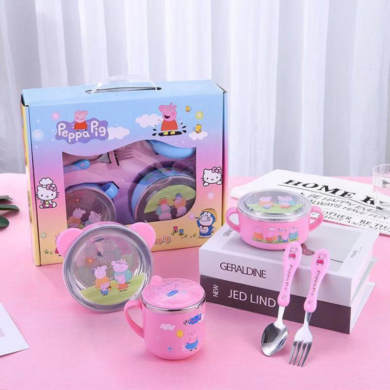 Peppa Pig Tableware Spoon Cross Fork Soup Spoon Set Baby Food Supplement Stainless Steel Bowl With Lid Combination Set Toys