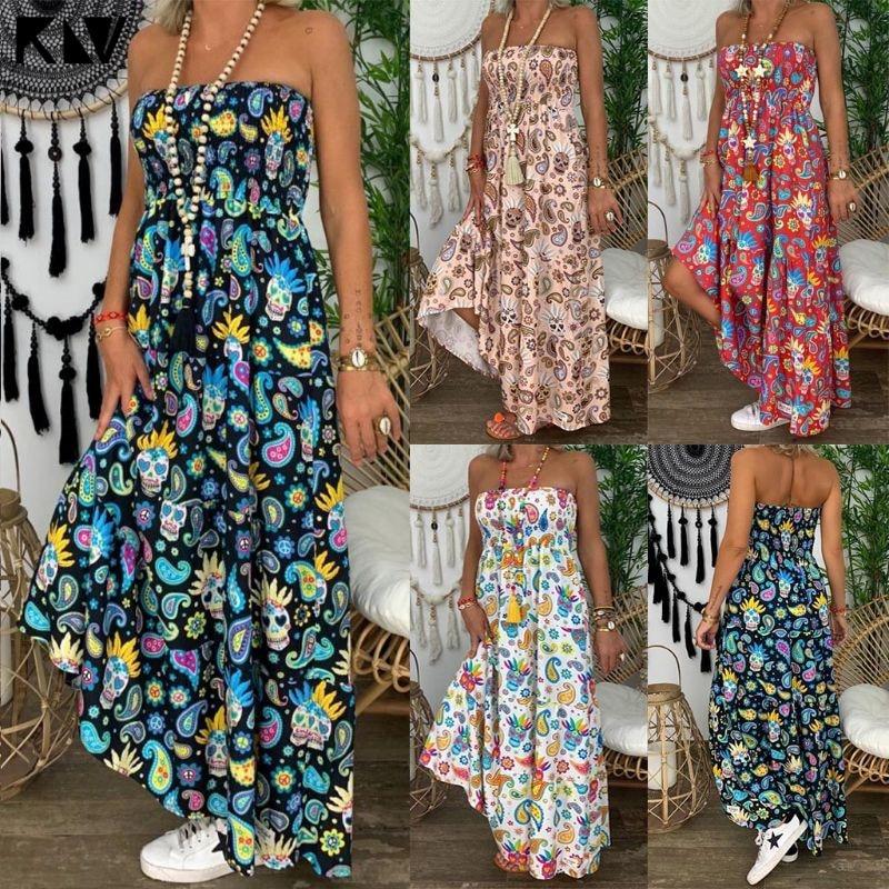 2019 Summer Women Strapless Bandeau Floral Print Beach Boho Long Maxi Dress Tube Sundress Sexy Sleeveless Backless Dresses