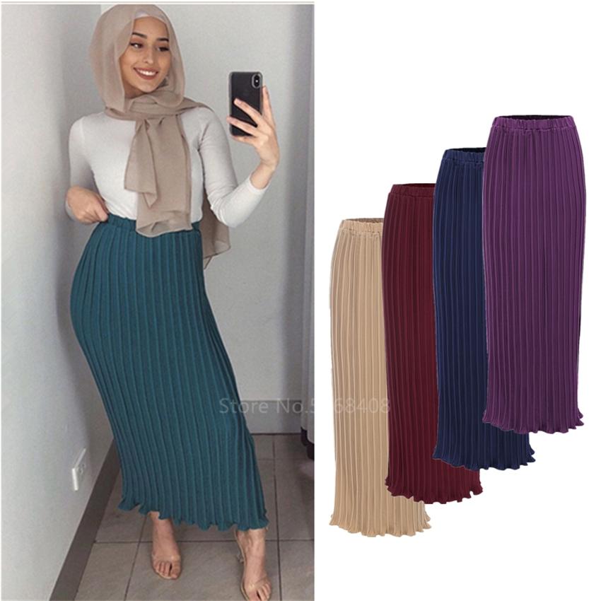 Fashion Muslim Elegant Pleated Skirts ChiffonTurkish Solid Half Dress Women Hight Waist Buttons Party Long Maxi Islamic Clothing