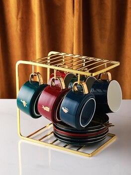 Set De Tazas De café De cerámica europeas creativas bonitas Tazas De café turco luz Eco amigable juego De Tazas De café De lujo BE50CC