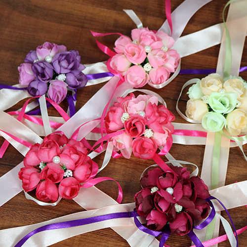 Caliente las mujeres flores para la muñeca pulsera de dama de honor hermanas boda fiesta nupcial baile llevando