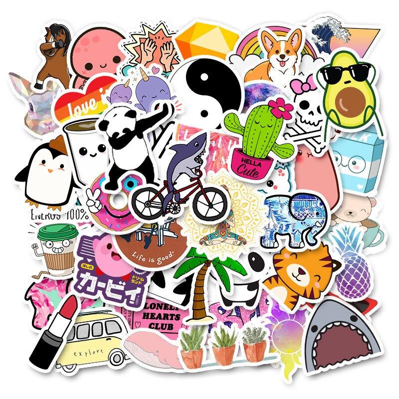 50 PCS Cartoon Color Summer VSCO Girl Stickers Children Toys Waterproof Stickers DIY Suitcase Notebook Bicycle Helmet Car Decals
